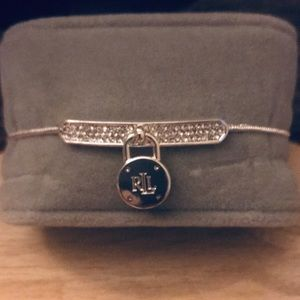 Ralph Lauren Pave and Name Plate Slider Bracelet